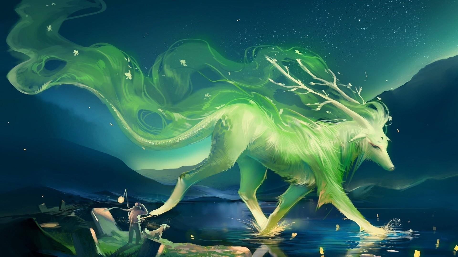 Нарисованый фэнтезийный зеленый дракон  № 3349178  скачать